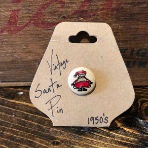 Vintage Hand-Painted Santa Claus Pin